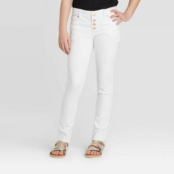Girls' Faux Button-front Skinny Jeans - Cat & Jack White Wash