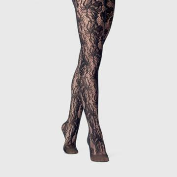Women's Floral Net Tights - A New Day Black M/l, Size: