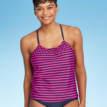 Women's Racerback Tankini - Kona Sol Navy/pink L, Size: Large, Pink/blue