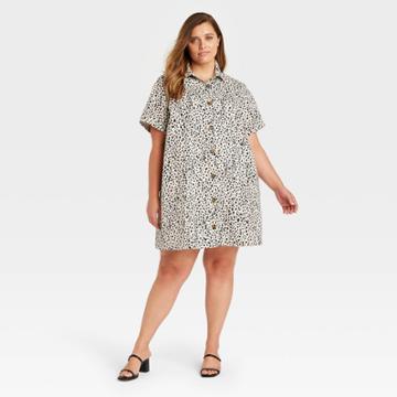 Women's Plus Size Leopard Print Short Sleeve Shirtdress - Who What Wear Off-white