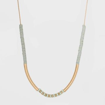 Semi-precious Amazonite And Flat Disc Beaded Station Necklace - Universal Thread Mint, Women's, Green