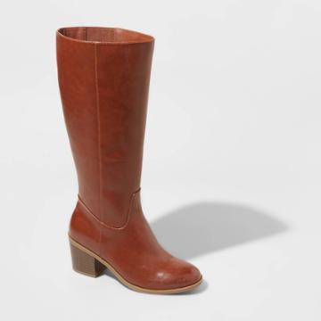 Women's Vivian Wide Calf Heeled Riding Boots - A New Day Cognac