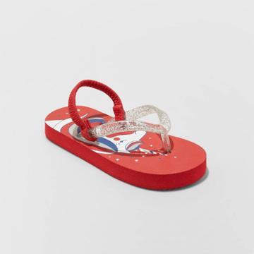 Girls' Adriana Unicorn Print Flip Flop Sandals - Cat & Jack Red 7-8, Toddler Girl's