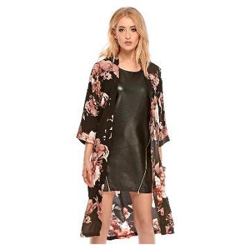 Target Black Floral Kimono - Fashion Union