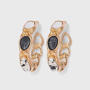 Black Howlite And Dalmatian Jasper Semi-precious Curb Chain Hoop Earrings - Universal Thread