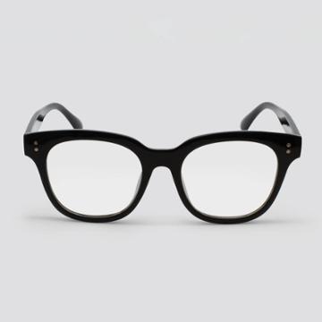 Women's Blue Light Filtering Square Plastic Sunglasses - Wild Fable Black, Black/blue