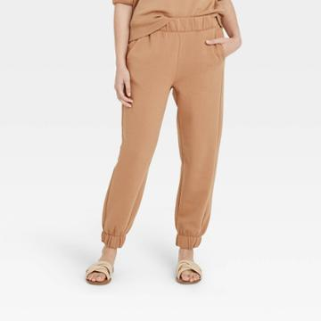 Women's High-rise Pull-on All Day Fleece Ankle Jogger Pants - A New Day Tan