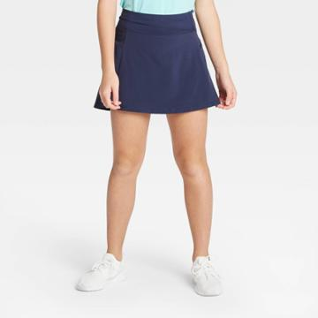 Girls' Stretch Woven Performance Skort - All In Motion Navy Xs, Girl's, Blue