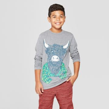 Boys' Highland Cow Long Sleeve Graphic T-shirt - Cat & Jack Gray