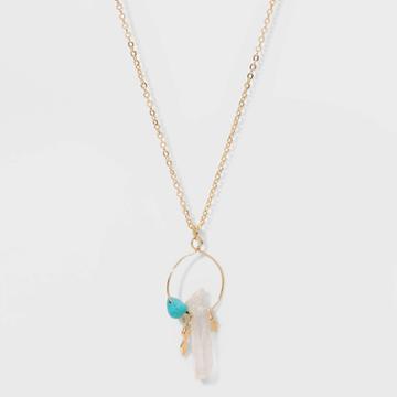 No Brand Petitesemi-precious Stone Short Necklace - White/turquoise, Women's