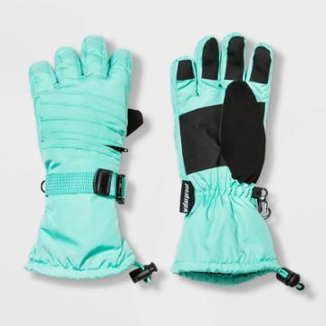 Girls' Solid With Zipper Pocket Ski Gloves - C9 Champion Green 4-7, Girl's,