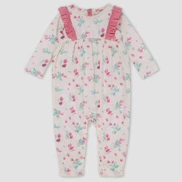 Burt's Bees Baby Baby Girls' Lovely Floral Jumpsuit - Off-white