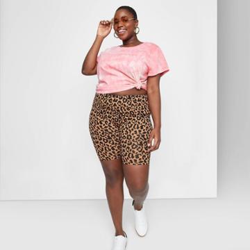 Women's Plus Size Super-high Rise Bike Shorts - Wild Fable Tan Animal Print
