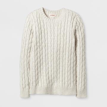 Girls' Crew Neck Cable Pullover Sweater - Cat & Jack Cream L, Size: L(10-12), White