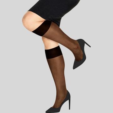 L'eggs Women's 8pk Knee-hi Plus Stockings - Black
