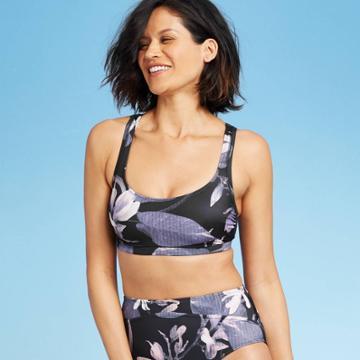 Women's Scoop Bralette Bikini Top - All In Motion Black Floral Xs, Women's,