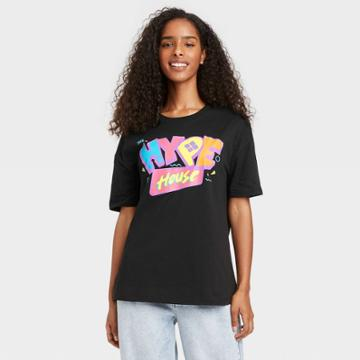 Modern Lux Women's Hype House Elbow Sleeve Graphic T-shirt - Black