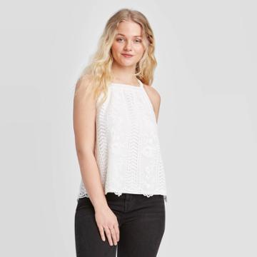 Women's Lace Front Knit Tank Top - Xhilaration Off White Xs, Women's, Beige