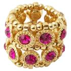 Zirconite Stretch Ring With Crystals - Fuchsia, Women's