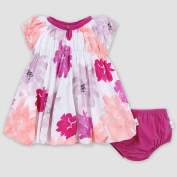 Burt's Bees Baby Baby Girls' Organic Cotton Watercolor Spring Bubble Dress And Diaper Cover Set - Pink 0-3m, Girl's, Pink Purple