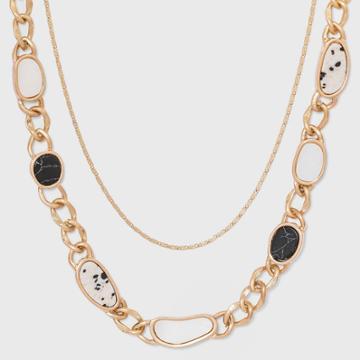 Dalmation Jasper And Black Howlite Semi-precious Curb Chain Layered Necklace - Universal Thread