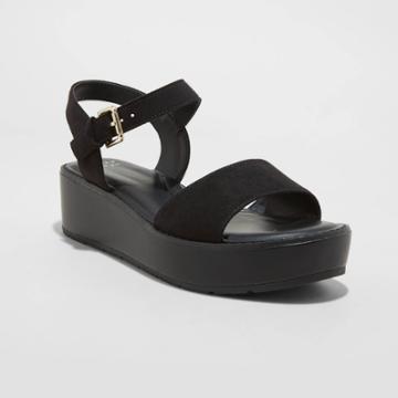 Women's Ivy Platform Sandals - A New Day Black