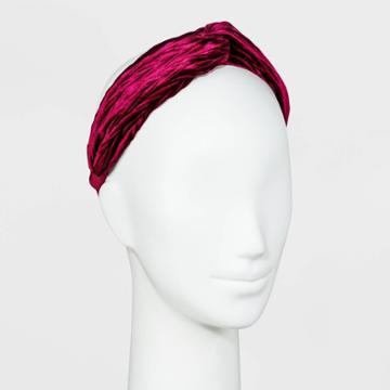 Chevron Velvet Twist Headband - A New Day Burgundy