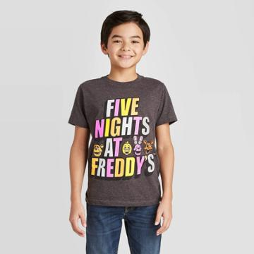 Petiteboys' Short Sleeve Five Nights At Freddy's T-shirt - Charcoal Xs, Boy's, Gray