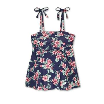 Maternity Floral Print Tie Strap Flyaway Tankini Top - Isabel Maternity By Ingrid & Isabel Navy