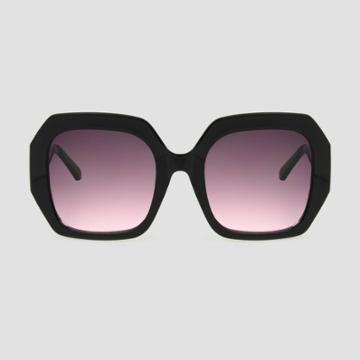 Women's Square Sunglasses With Burgundy Gradient Lenses - A New Day Black