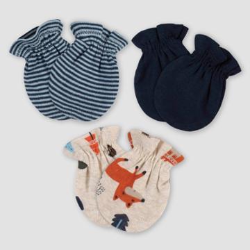 Gerber Baby Boys' 3pk Fox Mittens - Off-white/blue