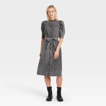 Women's Puff Elbow Sleeve Shirtdress - Who What Wear Black