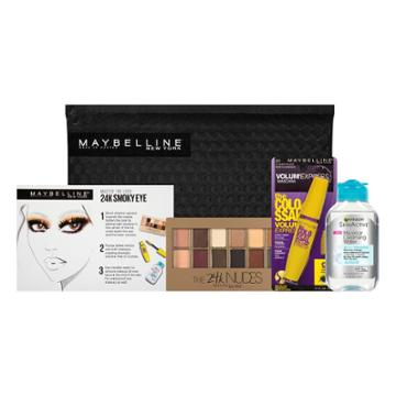Maybelline Ny Minute Eyeshadow, Mascara, Makeup Remover Kit 24k Smoky Eye