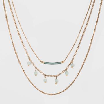 Semi-precious Amazonite With Three Layer Bead Necklace - Universal Thread Mint, Women's, Green