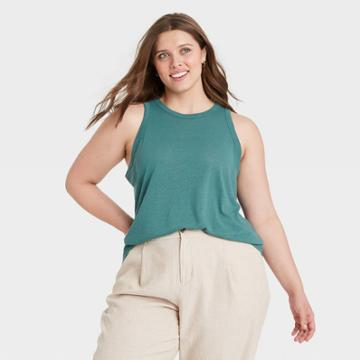 Women's Plus Size Linen Tank Top - A New Day Teal