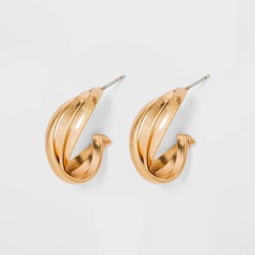 Braided Hoop Earrings - Universal Thread Gold