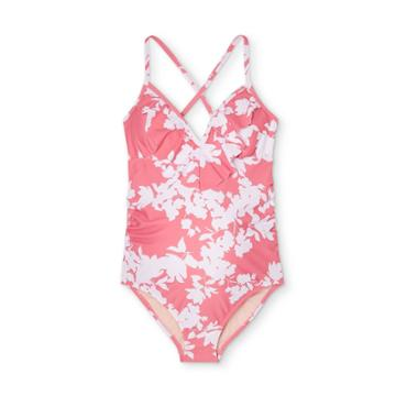 Maternity Floral Print Flounce Neck One Piece Swimsuit - Isabel Maternity By Ingrid & Isabel Pink/white