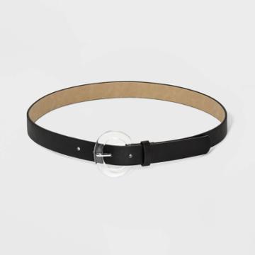 Women's Plus Size Round Translucent Buckle Belt - Ava & Viv Black 1x, Women's,