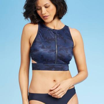 Women's Zipper Front Midi Bikini Top - All In Motion Navy Camo Xs, Women's, Blue