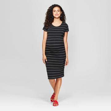 Maternity Striped Short Sleeve Shirred T-shirt Dress - Isabel Maternity By Ingrid & Isabel Black S, Black