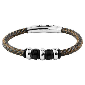 Men's West Coast Jewelry Stainless Steel Brown Leather Braided And Beaded Bracelet, Black Brown