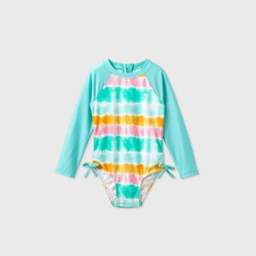 Toddler Girls' Tie-dye Long Sleeve Rash Guard Swim Shirt - Cat & Jack Blue