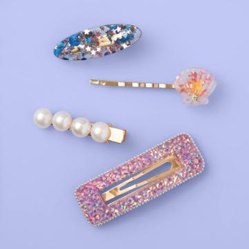 More Than Magic Girls' 4pk Shell And Glitter Square Hair Clip - More Than