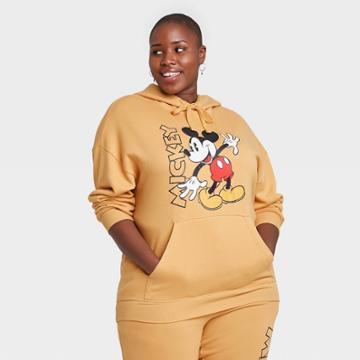 Women's Disney Mickey Mouse Plus Size Hooded Graphic Sweatshirt - Yellow