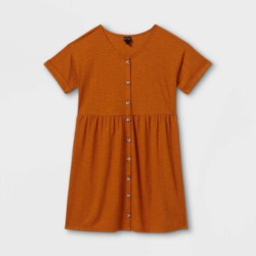 Girls' Flowy Button-front Short Sleeve Dress - Art Class Red