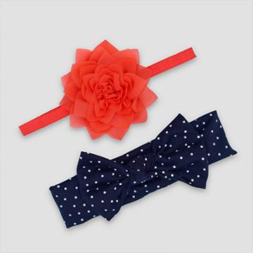 Baby Girls' 2pk Plume Headwrap - Just One You Made By Carter's, Red Blue