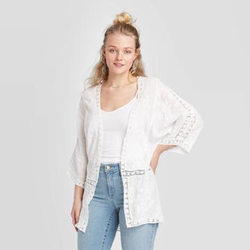 Women's Long Sleeve Embroidered Kimono Jacket - Xhilaration White Xs/s, Women's, Size: Xs/small, Beige
