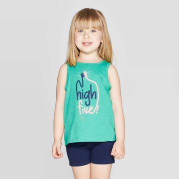 Toddler Girls' 'high Five' Graphic Tank Top - Cat & Jack Green