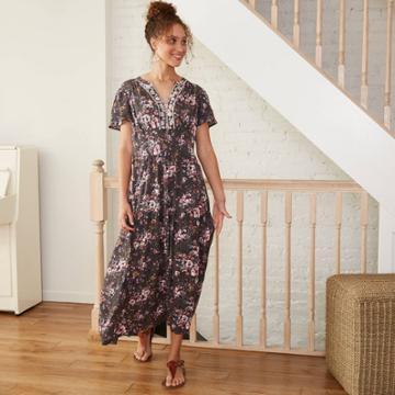 Women's Floral Print Short Sleeve Dress - Knox Rose Gray