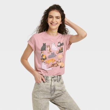 Fifth Sun Women's Cat Grid Short Sleeve Graphic T-shirt - Pink